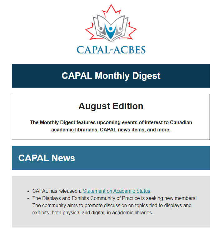 Screenshot of August Monthly Digest